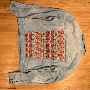 Distressed Vintage Jean Jacket w/  Aztec pattern